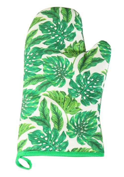 Grilling Cooking Gloves Oven Mitts Gloves ?C Green Leaves Pattern