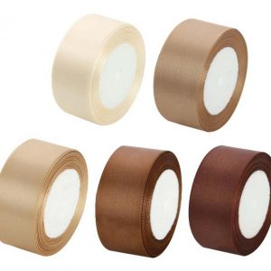 (Brown Set) 4CM Wide Flowers DIY Craft Ribbon Gift Wrapping Decoration Ribbon 5 rolls