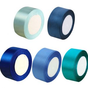(Blue Series) 4CM Wide Flowers DIY Craft Ribbon Gift Wrapping Decoration Ribbon 5 rolls