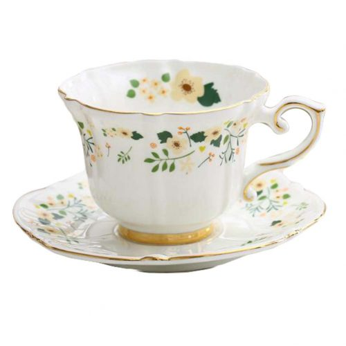 Floral European Style Tea Cup & Saucer Set for Afternoon Tea