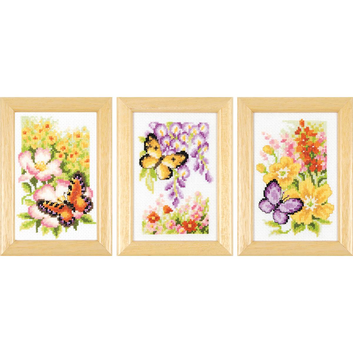 Vervaco Counted Cross Stitch Kit 2 5 X4 Butterflies Flowers Mini 18 Count Zamboanga Shopping