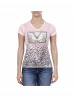 V 1969 Italia Womens T-shirt Short Sleeves V-Neck Pink EVELYN-11518~38139