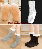 Warm Fuzzy Warm Thick Cozy Slipper Socks With Grippers for Christmas Gift Winter Warm, Wine Red-PL-CLO2376199011-KELLY01568-RP