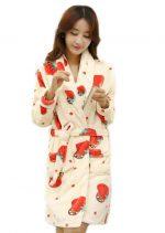 Cute Strawberry Bathrobe for Women, Winter Fleece Sleepwear, M-PS-CLO1045012-EMILY02824