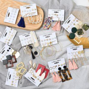 Tassel Acrylic Earrings For Women Bohemian Earrings Set Big Geometric Drop Earring 2020 Pearl Earrings Set DIY Fashion Jewelry 1