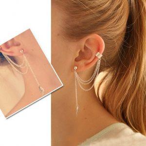1pcs Earrings Jewelry Fashion Personality Metal Ear Clip Leaf Tassel Earrings For Women Gift Pendientes Ear Cuff Caught In Cuffs 1
