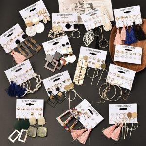 Tassel Acrylic Earrings For Women Bohemian Earrings Set Big Geometric Drop Earring 2020 Pearl Earrings Set DIY Fashion Jewelry
