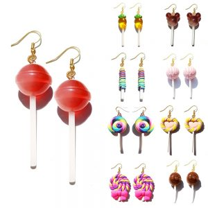 Earring For Women Resin Lollipop Drop Earrings Children Jewelry Custom Made Handmade Cute Girls Cotton Candy Gift