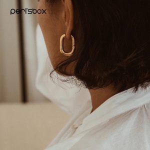 Peri'sBox Best Selling French Gold Chic O Shaped Hoop Earrings Women's Chunky Hoops Geometrical Brass Earrings Minimalist