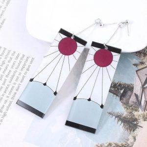 Anime Acrylic Drop Earrings Demon Slayer Kimetsu no Yaiba Blade of Ghost Earings For Women Men Cosplay Jewelry Accessories Gift 1