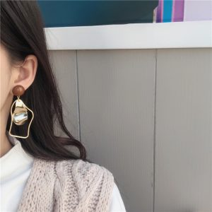 Flashbuy Gold Metal Irregular Drop Earrings For Women 2020 Geometric Statement Earrings Fashion Jewelry Wedding Accessories 1