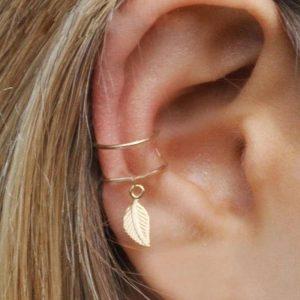 Modyle 5Pcs/Set 2019 fashion Ear Cuffs Gold Leaf Ear Cuff Clip Earrings for women Climbers No Piercing Fake Cartilage Earring 1