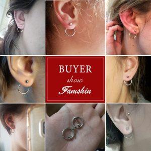 FAMSHIN Fashion Bohemian Vintage Earrings Jewelry Cute Gold Color Geometric Round Metal Stud Earrings Best Gift for Women Girl 1