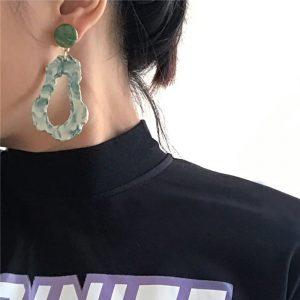 AENSOA Fashion Design Acrylic Irregular Long Drop Earrings 2019 Marble Pattern Stone Handmade Geometric Resin Earrings For Women 1