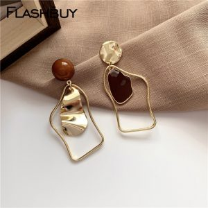 Flashbuy Gold Metal Irregular Drop Earrings For Women 2020 Geometric Statement Earrings Fashion Jewelry Wedding Accessories