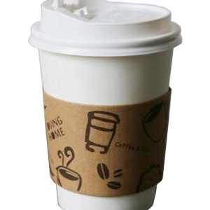 [A] Set of 50 Disposable Coffee Cups Paper Cups With Lids Hot Drink Cup