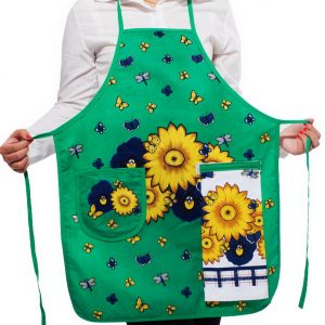 Flower & Butterfly Kitchen Apron Art Works Bib Aprons with Pocket and Hand Towel
