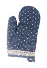 2 Pairs Of Kitchen Baking Oven Mitts Anti-hot Cotton Gloves Wave Point Dark Blue