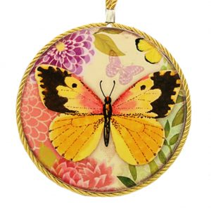 (6.7 Inch) Heat Resistant Hot Pads Plate Mat Round Pot Holder Butterfly Yellow