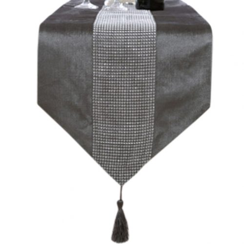 Grey Luxury Cloth Table Runner Modern Bed Runner With Rhinestone