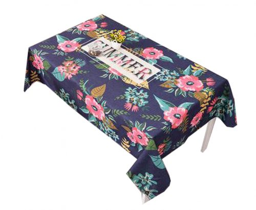 """""""Cotton Linen Beautiful Tablecloth Tea Table Cover Dust Cover Cloth 33.46""""""""x33.46"""""""" (Navy)"""""""