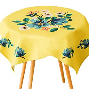 """""""Cotton Linen Beautiful Tablecloth Round Table Cover Dust Cover Cloth 33.46""""""""x33.46"""""""" (Yellow)"""""""
