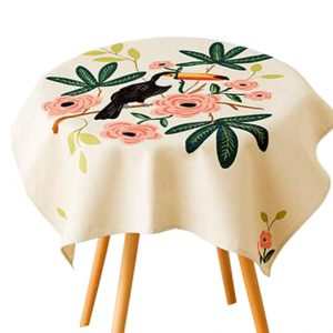 """""""Cotton Linen Beautiful Tablecloth Round Table Cover Dust Cover Cloth 33.46""""""""x33.46"""""""" (White)"""""""