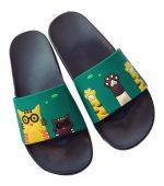 Cute Cat Print Slippers Summer Bathroom Non-slip Soft Bottom Sandals, Pure Green-GM-SPO2309435011-ZARA04372