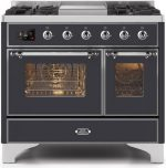 40″ Majestic II Series Freestanding Dual Fuel Double Oven Range with 6 Sealed Burners,  Triple Glass Cool Door, Convection Oven, TFT Oven Control Display, Child Lock and Griddle in Matte Graphite-UMD10FDNS3MGCLP