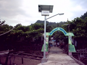 Solar powered Street Light at the port gate of barangay Quezon, Libjo.JPG